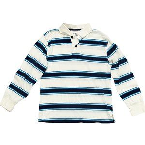 Blue & Teal Striped Polo Long Sleeve Shirt